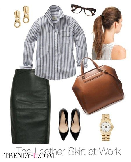 Черная кожаная юбка-карандаш в сочетании с рубашкой