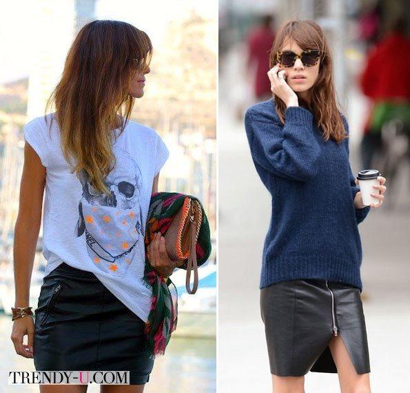 Короткие кожаные юбки на стильных девушках