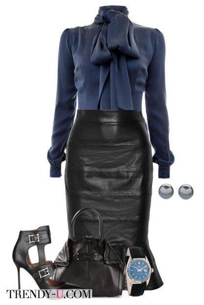 Кожаная черная юбка в сочетании с синей блузкой