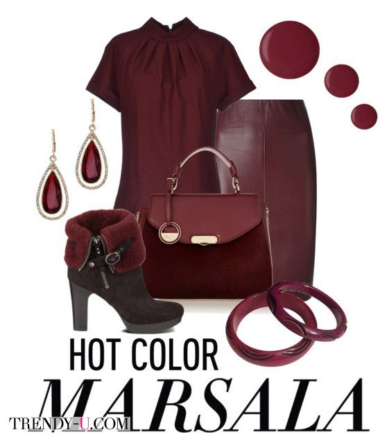 Кожаная юбка цвета марсала в сочетании с одеждой и аксессуарами в тон