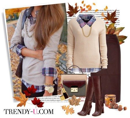 Лук в стиле casual и коричневая кожаная юбка