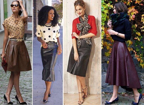 Кожаные юбки на модницах