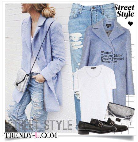 Пастельного оттенка пальто и рваные джинсы-бойфренды: просто и стильно