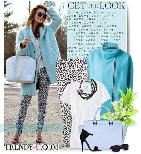 Укороченное пальто и брюки с принтом