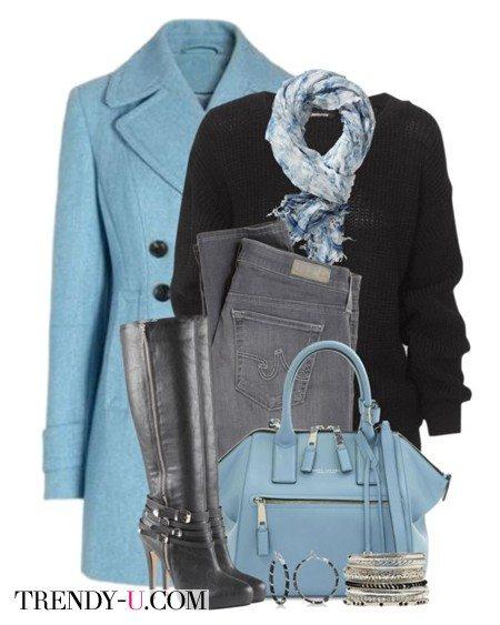 Укороченное голубое пальто