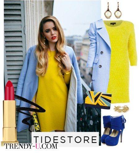 Голубое пальто - желтое платье