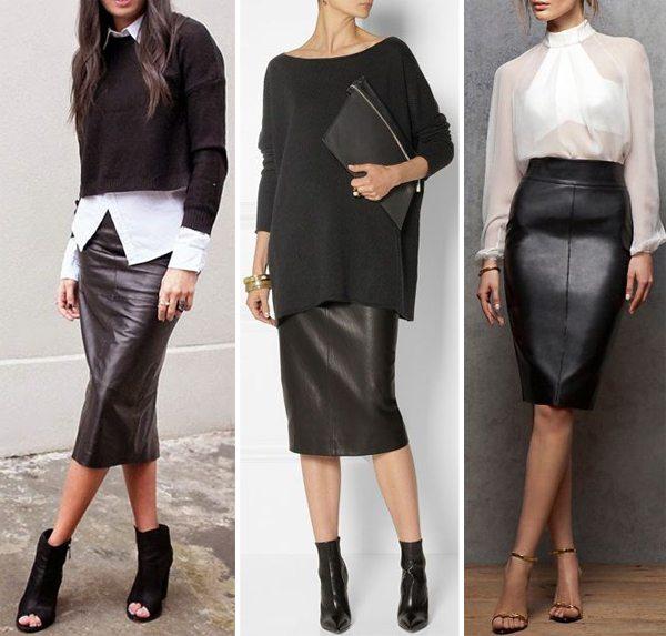 Черная кожаная юбка и белый верх