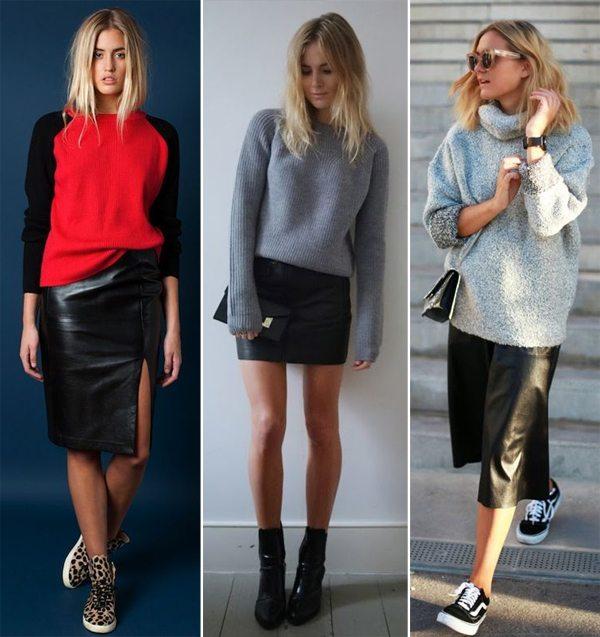 С чем носить кожаную мини юбку