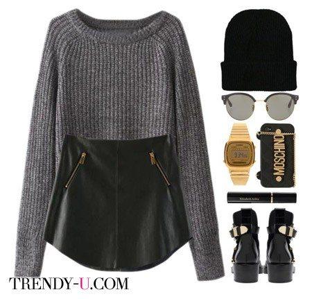 Кожаная юбка, грубые ботинки и стильные аксессуары