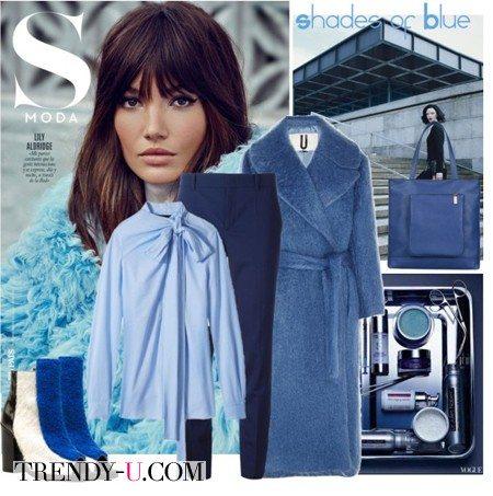 Синее пальто-кокон, брюки, блузка
