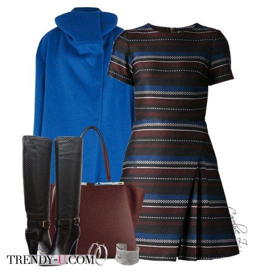 Ярко-синее пальто и коричневое с синим платье