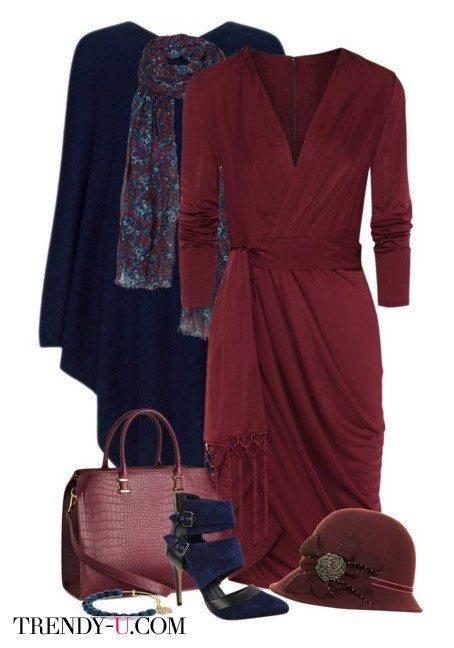 Синее пальто и платье цвета марсала + аксессуары