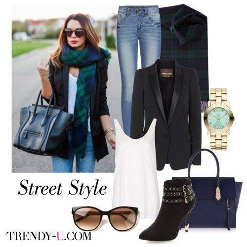 Блейзер в сочетании с джинсами и шарфом
