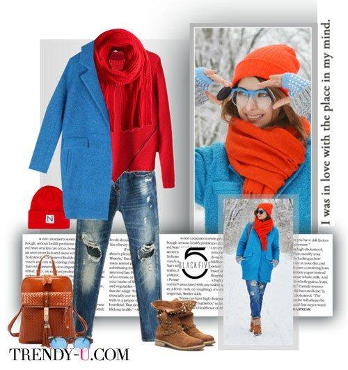 Шарф и синее пальто-кокон