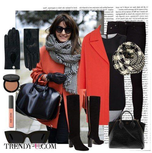 Клетчатый шарф и оранжевое пальто