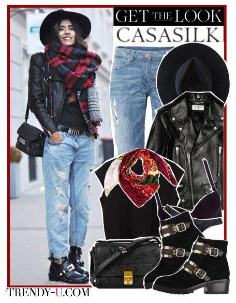 Клетчатый шарф в сочетании с курткой-косухой