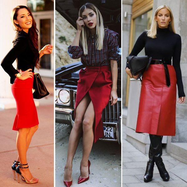 Красные юбки на модницах