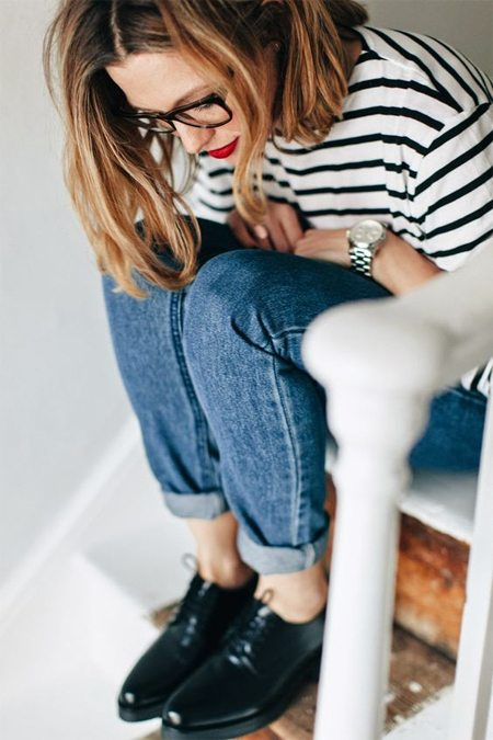 Casual: тельняшка, джинсы, оксфорды