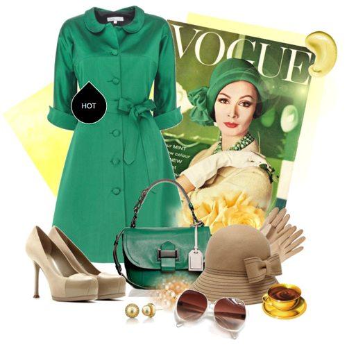 Зеленое платье-рубашка в стилое ретро