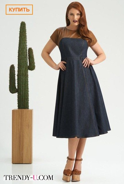 Модное платье из денима со вставкой цвета Marsala весна-лето 2015