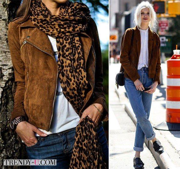 Look'и с замшевой курткой и джинсами разных фасонов