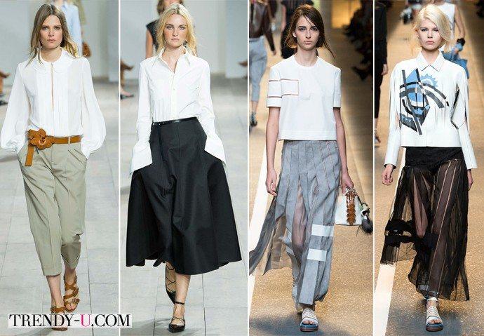 Модные блузки белого цвета весна-лето 2015 от Michael Kors и Fendi
