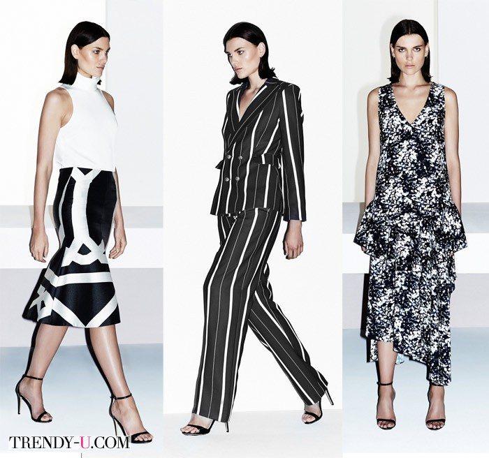 Модная одежда в черно-белой гамме весна-лето 2015
