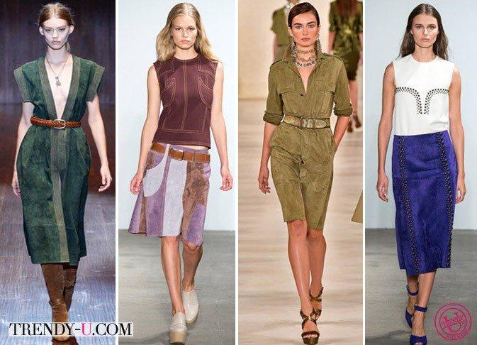 Одежда из замши 2015: платья и юбки от Gucci, Derek Lam, Ralph Lauren