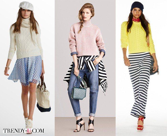 Модные свитеры и джемпер от Bally (посередине) и Polo by Ralph Lauren для весны и лета 2015