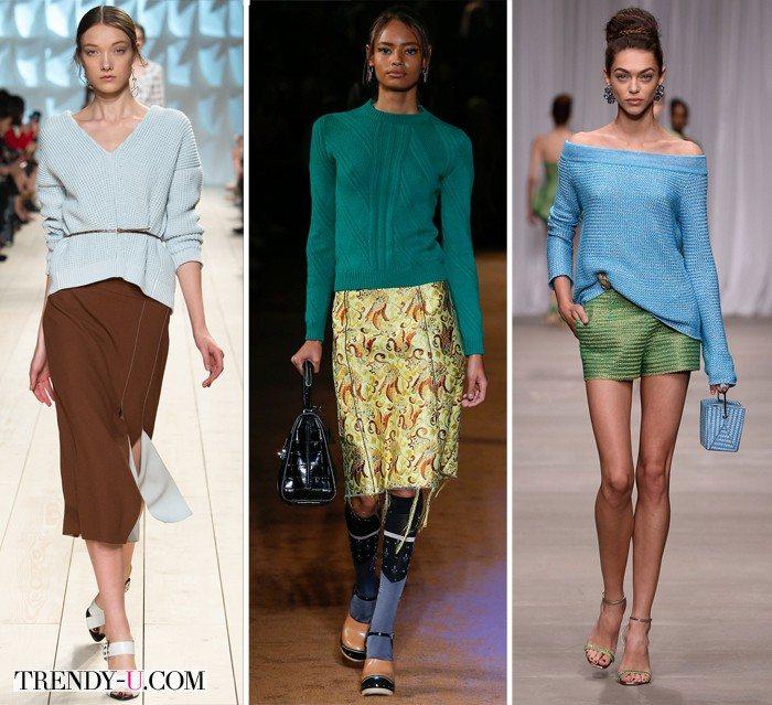 Слева направо: модные джемперы от Nina Ricci, Prada и Ermano Scervino весна-лето 2015