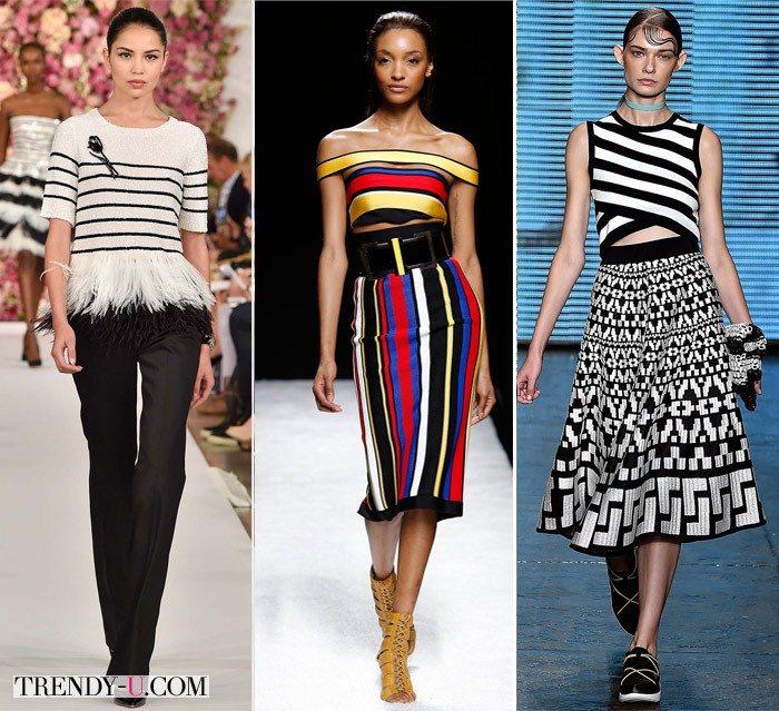 Одежда в полоску весна-лето 2015 от Oscar de la Renta, Balmain и DKNY