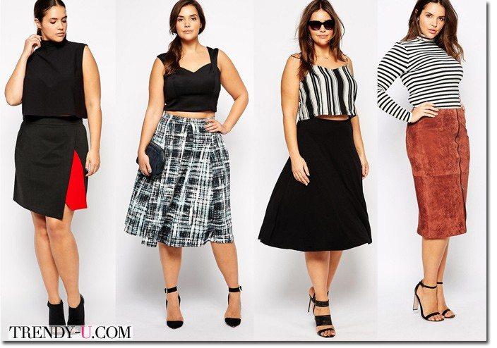 Стильные юбки весна-лето 2015 для полных
