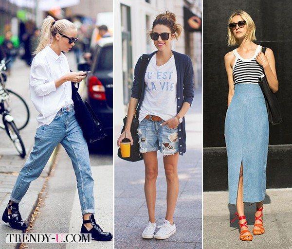 Стильные луки с высокими джинсами, а также юбкой и шортами из денима для лета 2015