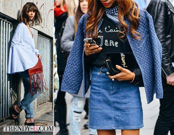 Уличные модницы носят деним весной 2015!
