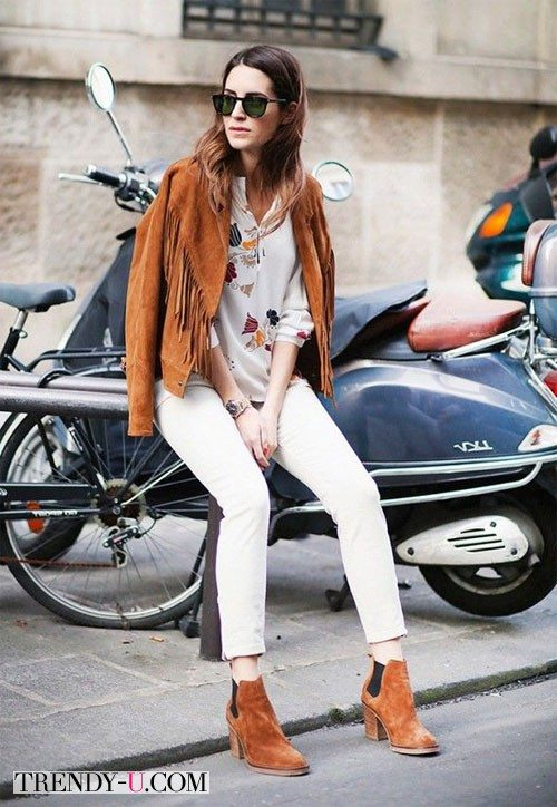 Белые брюки и замшевая куртка для весны 2015