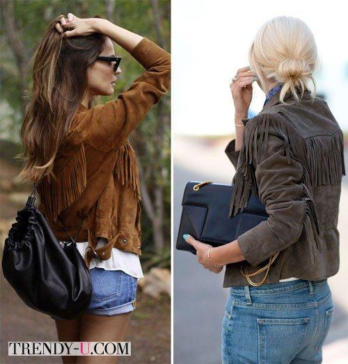 Куртки из замши в сочетании с джинсами и шортами из денима