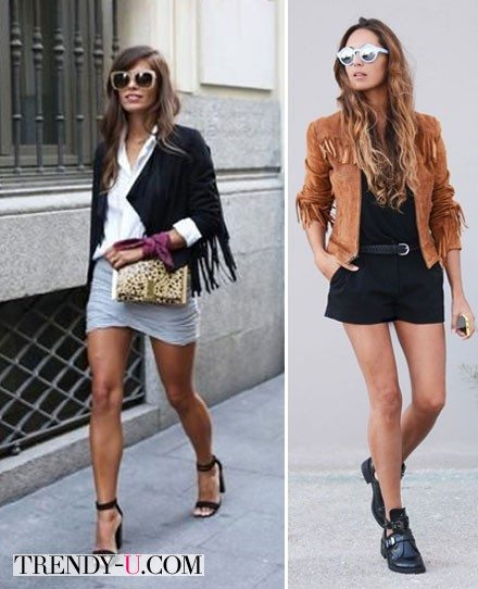Уличный стиль: замшевая куртка + юбка или комбинезон с шортами