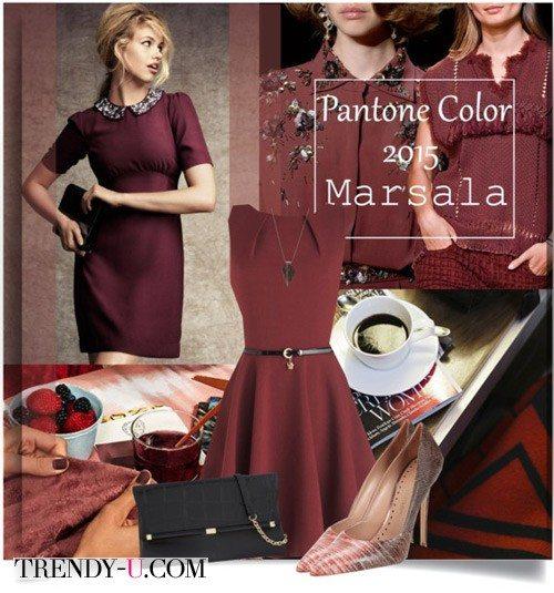 Платье цвета марсала и аксессуары