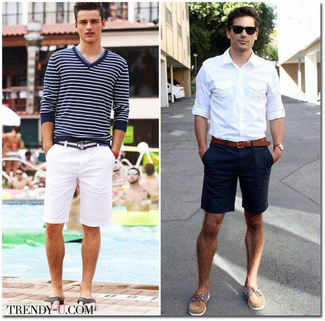 Мужские белые шорты и рубашка для лета 2015