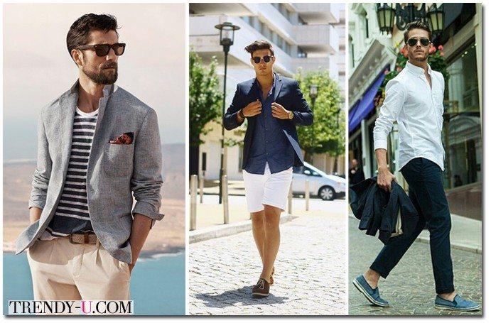 Мужской блейзер в сочетании с шортами и брюками
