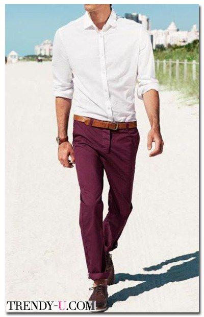 Мужские брюки цвета Марсала лето 2015