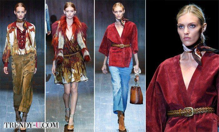 Стильные образы цвета марсала, Gucci весна-лето 2015