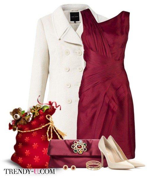 Коктейльное платье марсала и кремовое пальто