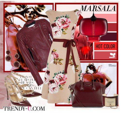 Кожаная куртка и сумка цвета марсала в сочетании с бежевым платьем