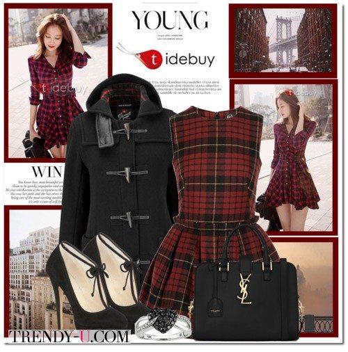 Платье цвета марсала в шотландскую клетку и черные аксессуары