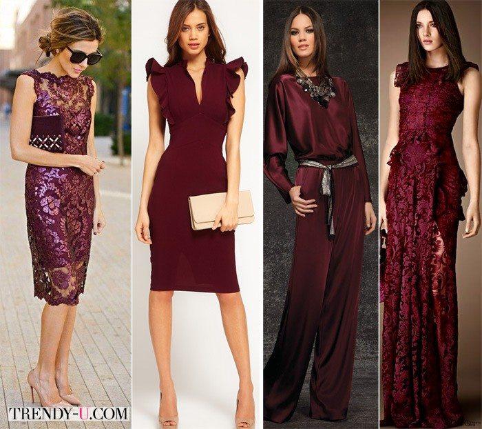 Девушки в вечерних и коктейльных платьях цвета марсала