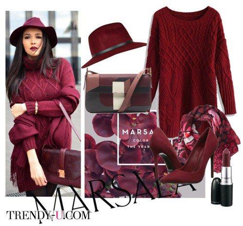 Вязаное платье цвета марсала для холодного времени года - это must!