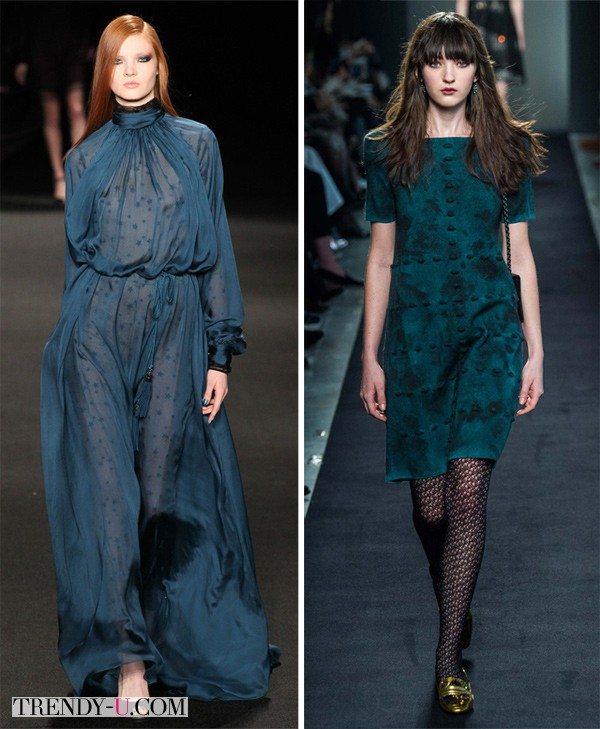 Платья модного цвета осени и зимы темно-бирюзового (Бискайский залив) от Bottega Veneta Monique Lhuiller FW 2015