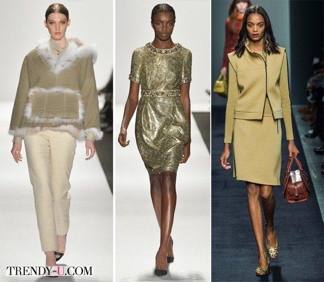 Модная одежда цвета степная полынь осень-зима 2015-2016 от Denis Basso и Bottega Veneta (справа на фото)