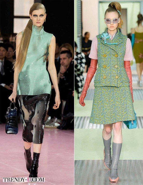 Модные образы осени и зимы 2015-2016 на базе желто-салатового цвета от Christian Dior и Prada